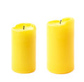 Burned yellow wax candle isolated Royalty Free Stock Photo