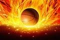 Burning basketball Royalty Free Stock Photo
