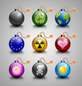 Burning bomb icons set of isolated on grey background Stock Image
