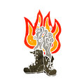 Burning boots cartoon Royalty Free Stock Images