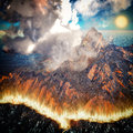 Burning caldera of the volcano 3d rendering