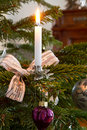 Burning candle christmas decoration Stock Photo