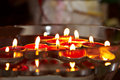 Burning candles from red wax Royalty Free Stock Image