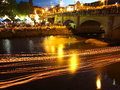 Burning candles on river blur at festival Royalty Free Stock Photo
