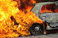 Burning car Stock Photography