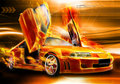Burning car background Royalty Free Stock Photo