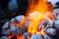 Burning charcoal briquettes closeup Royalty Free Stock Photo