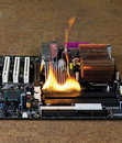 Burning computer main board Royalty Free Stock Photography