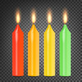 Burning 3D Realistic Dinner Candles Vector. Set Colorful On Dark Transparent Background Illustration Royalty Free Stock Photo