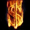 Burning dollar sign