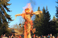Burning of an effigy kaliningrad russia march imperial maslenitsa in the central recreation park kaliningrad Stock Image