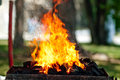 Burning embers for barbecue on picnic closeup Stock Photo
