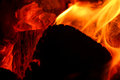 Burning embers in the dark closeup Stock Photos
