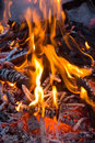 Burning embers fireplace abstract background Stock Images