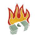 Burning euros cartoon Royalty Free Stock Images