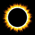 Burning fire circle isolated on black background