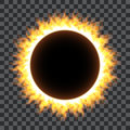 Burning fire circle on transparent background