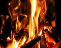 A burning fire of kindling and log wood Stock Image