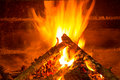 Burning firewood in chimney with pine cones Stock Image