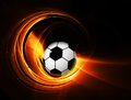 Burning football soccer ball on fire illustration on black background Royalty Free Stock Photography