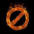 Burning forbidden symbol Stock Photography