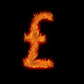 Burning great britain gb pound Royalty Free Stock Photo