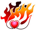 Burning heart isolated illustrated logo design Stock Image