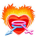Burning heart with male and female symbols Royalty Free Stock Images