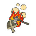 Burning helmet cartoon Royalty Free Stock Photo