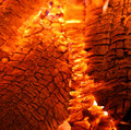 Burning hot embers Stock Photo