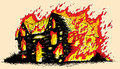 Burning house drawing of a Stock Image