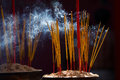 Burning incense sticks stick in a chinese temple in ho chi minh city vietnam Royalty Free Stock Image