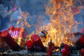 Burning joss sticks Stock Images
