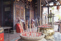 Burning Joss Sticks at Chinese Temple Royalty Free Stock Photo