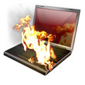Burning Laptop, Notebook Royalty Free Stock Image