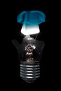 Burning Light Bulb with Cracked Glass Royalty Free Stock Photo