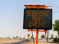 Burning man event sign in wadsworth nevada approaching the black rock desert Royalty Free Stock Photography