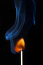 Burning match with flame and smoke Royalty Free Stock Photos