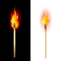 Burning match realistic illustration on white and black Royalty Free Stock Photo