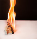 Burning matches house - games with fire ends with accident Royalty Free Stock Photo