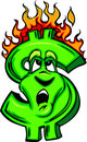 Burning Money Cartoon Face Royalty Free Stock Photos