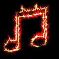 Burning musical sign Royalty Free Stock Photos