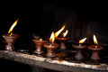 Burning oil lamps nepal at indian temple Royalty Free Stock Photography