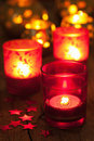 Burning red lanterns for christmas Stock Photography