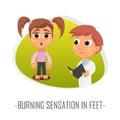 Burning sensation in feet medical concept. Vector illustration.