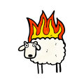 Burning sheep cartoon Stock Images