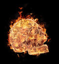 Burning skull on black background Royalty Free Stock Photos