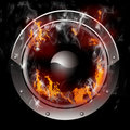 Burning Speaker with real flames effect Royalty Free Stock Photos