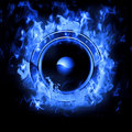 Burning Speaker with real flames effect Royalty Free Stock Image
