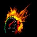 Burning speedometer Royalty Free Stock Photo